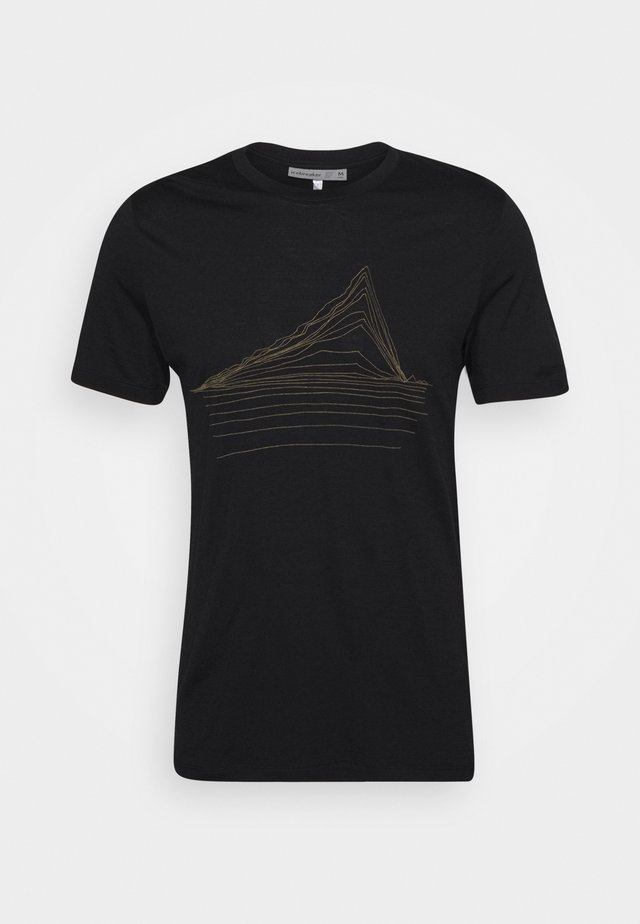 MENS TECH LITE CREWE HEATING UP - Print T-shirt - black