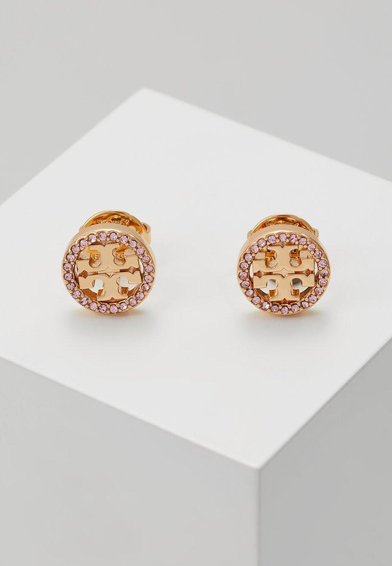 Tory Burch - LOGO CIRCLE EARRING - Earrings -  gold-coloured/vintage rose