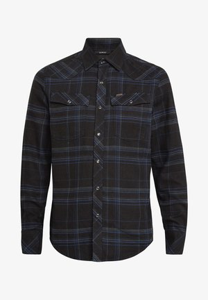 3301 SLIM LONG SLEEVE CHECK - Shirt - pitch black yoko check