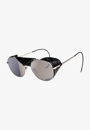 Sunglasses - matte silver black leather fl