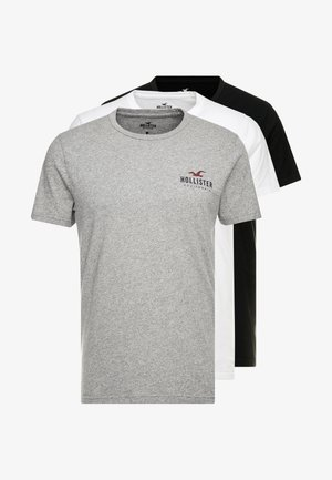 SMALL CHEST LOGO 3 PACK - T-shirt print - black/white/grey