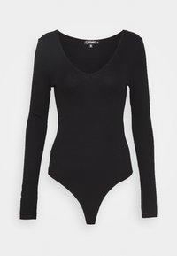 Missguided Tall - V NECK BODYSUIT - Longsleeve - black - 0