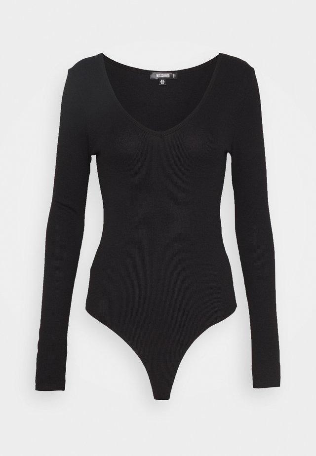 V NECK BODYSUIT - Long sleeved top - black
