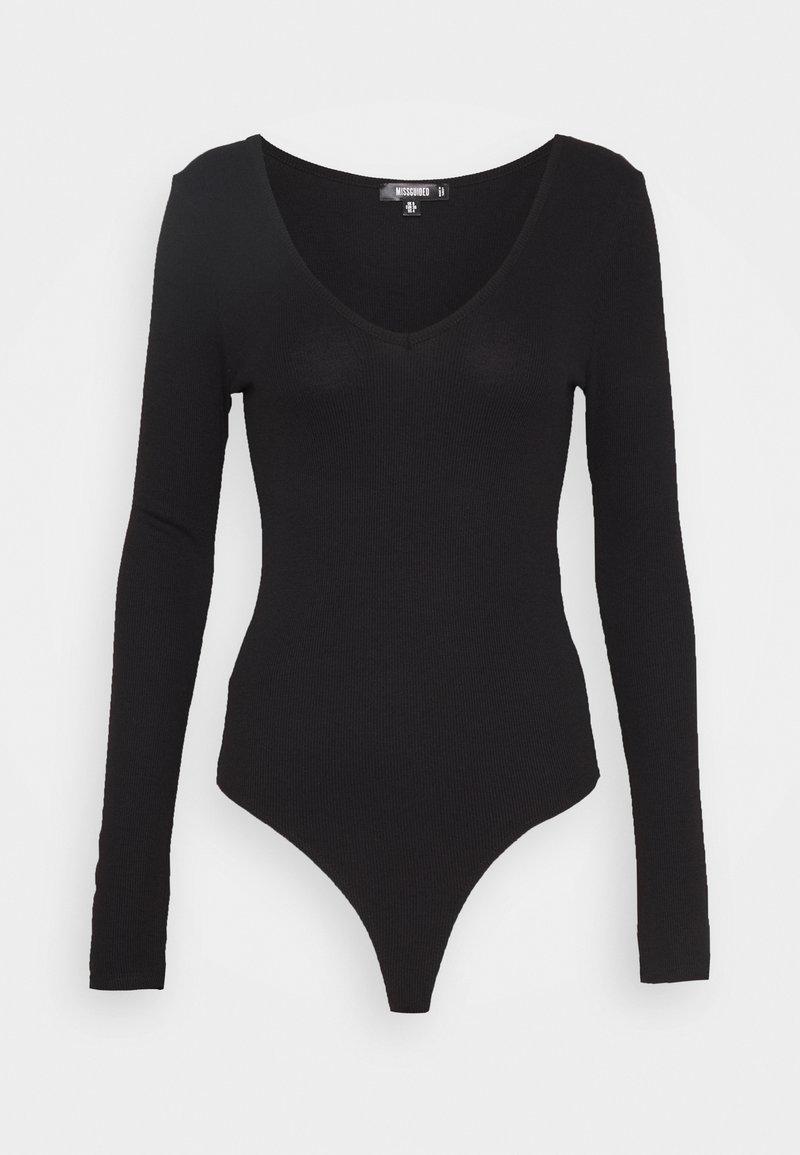 Missguided Tall - V NECK BODYSUIT - Longsleeve - black