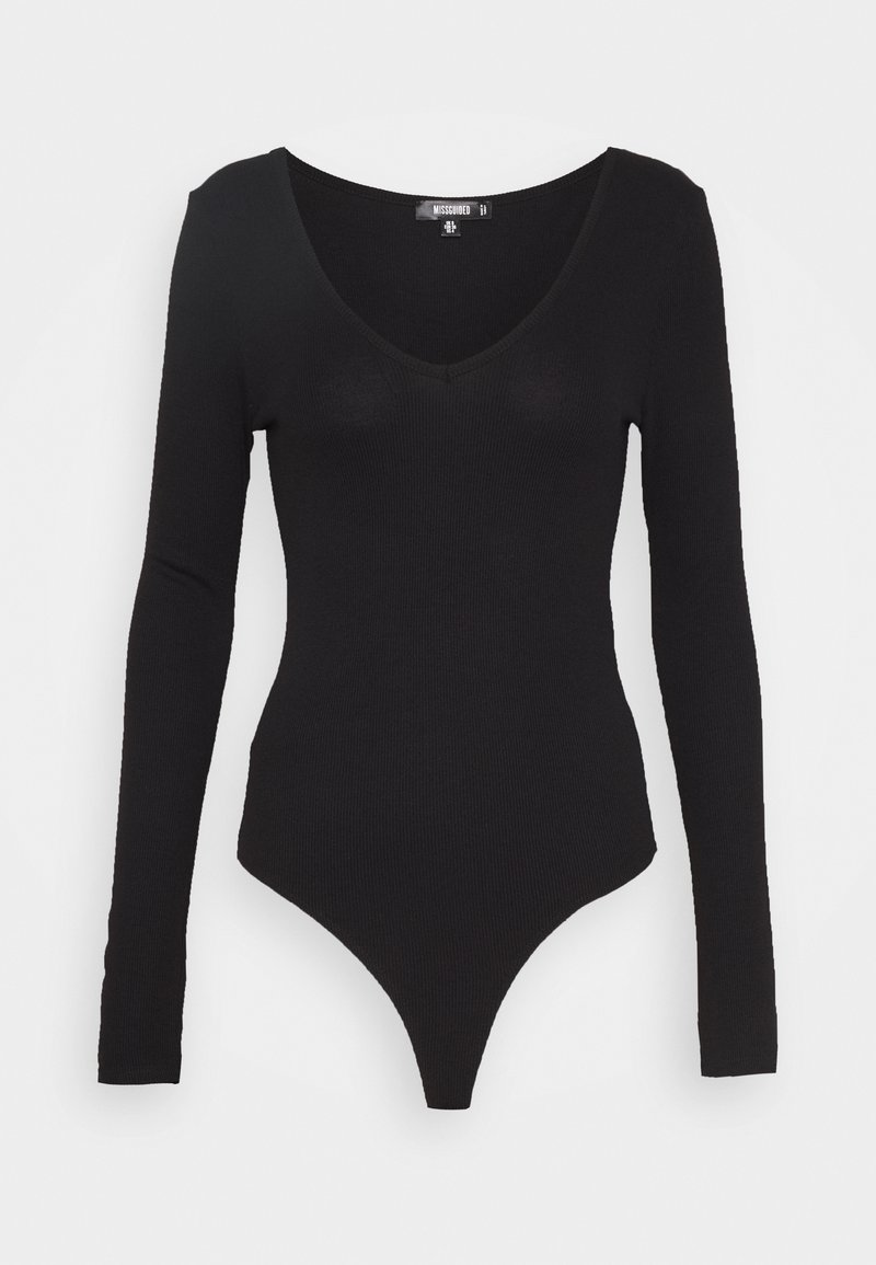 Missguided Tall - V NECK BODYSUIT - T-shirt à manches longues - black