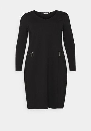 CLEAN ZIP DETAIL DRESS - Shift dress - deep black