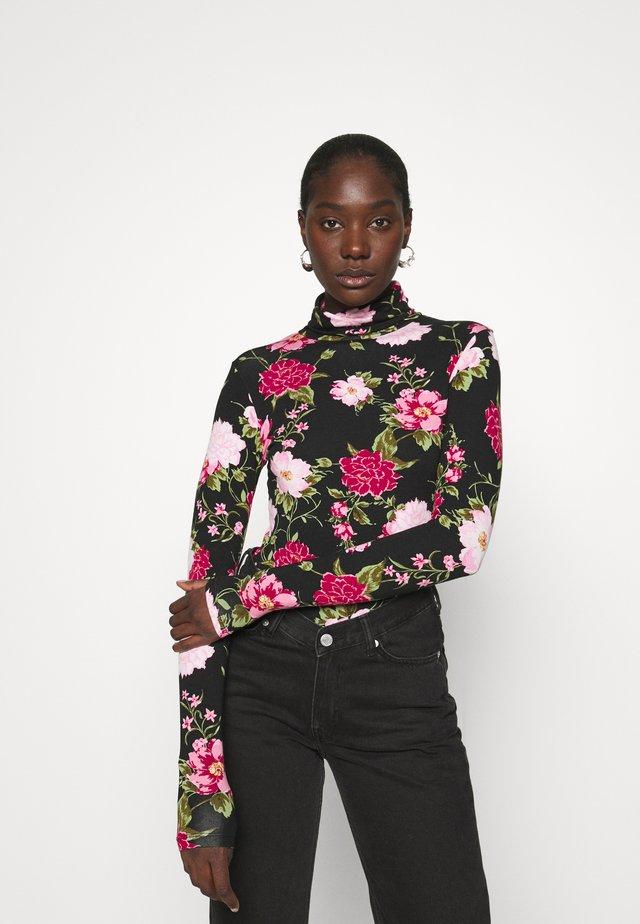 FLORAL ROLL NECK - T-shirt à manches longues - black