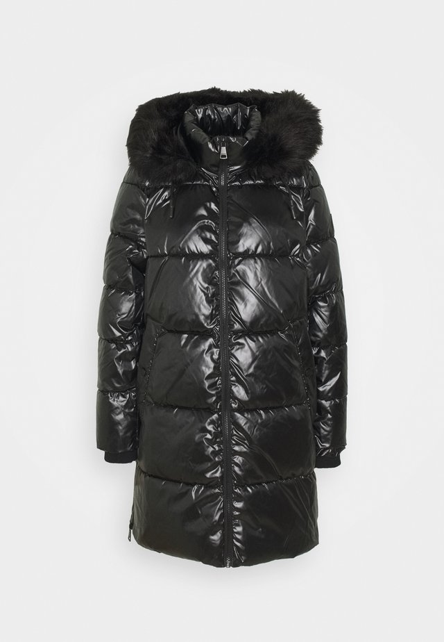 LONG SHINY PUFFER - Winter coat - black