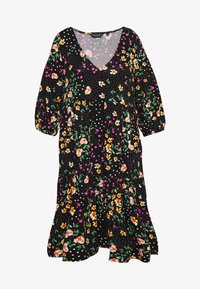 Dorothy Perkins Curve - V NECK SMOCK FLORAL DRESS - Jersey dress - multi coloured - 4