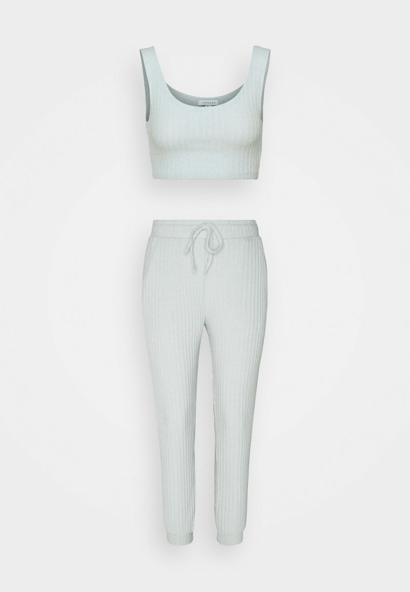 Topshop - COSY BRUSHED SET - Tracksuit bottoms - ice blue