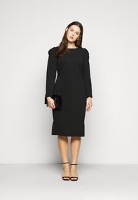 Dorothy Perkins Curve - CURVE RUCHED SLEEVE BODYCON - Robe en jersey - black - 1