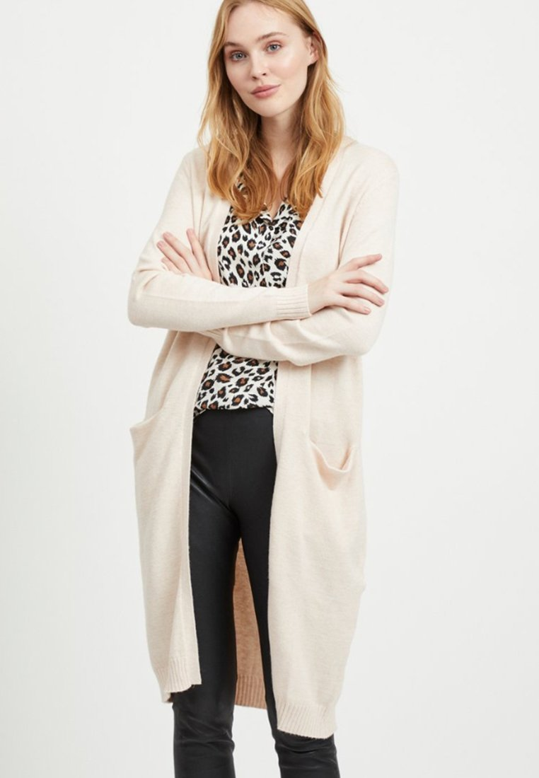 Vila - VIRIL LONG CARDIGAN  - Cardigan - beige