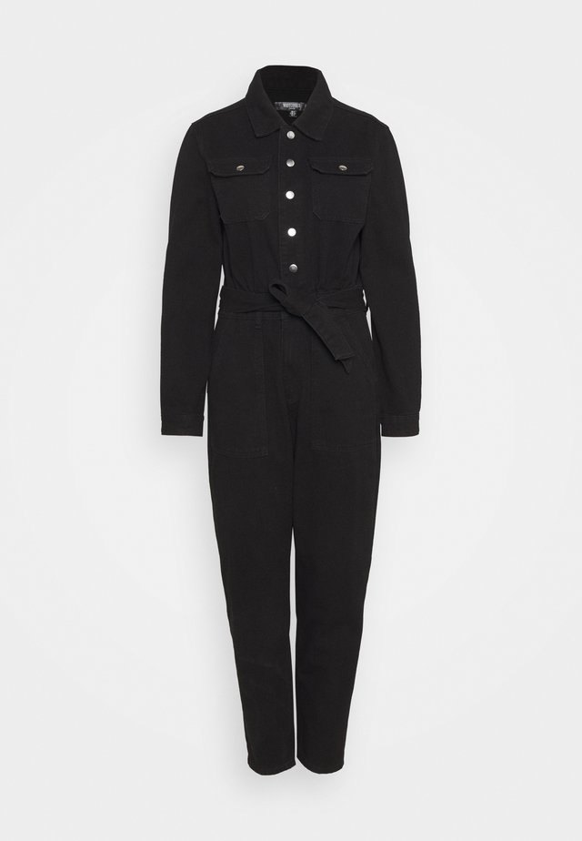 BUTTON THROUGH BOILER SUIT  - Jumpsuit - black