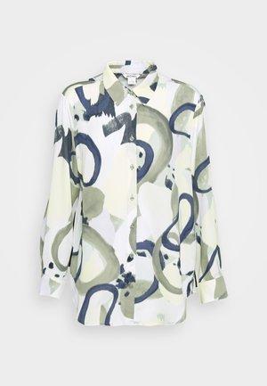 ASSA BLOUSE - Button-down blouse - khaki green/dusty light khakiart