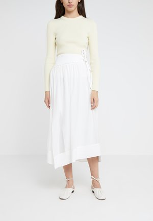 SIDE WRAP MIDI STRUCTURED SKIRT - A-line skirt - white