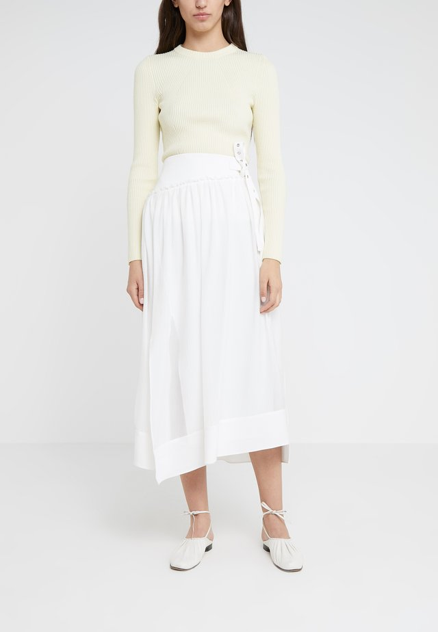 SIDE WRAP MIDI STRUCTURED SKIRT - Gonna a campana - white