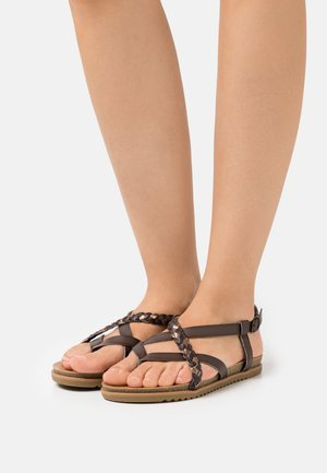 VEGAN MALLORCA - T-bar sandals - tobacco/multicolor