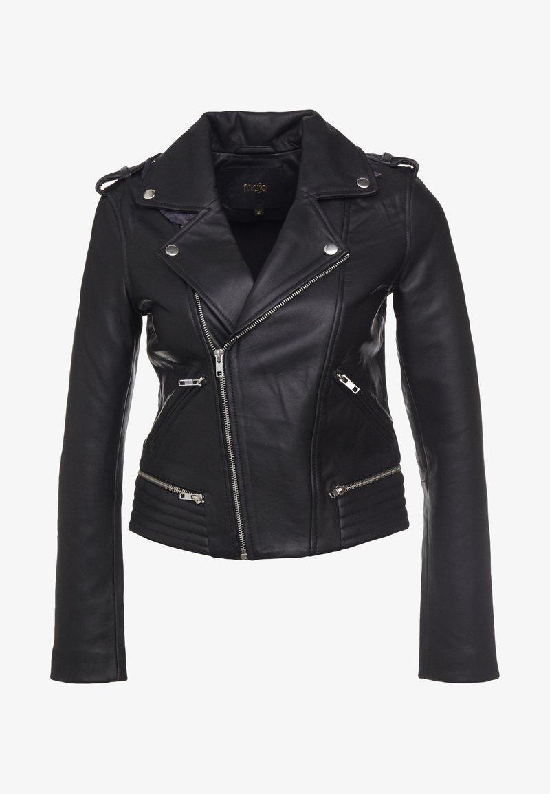 maje - Leather jacket - noir
