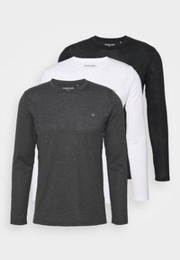 LONG SLEEVE 3 PACK - Long sleeved top - black/white/charcoal