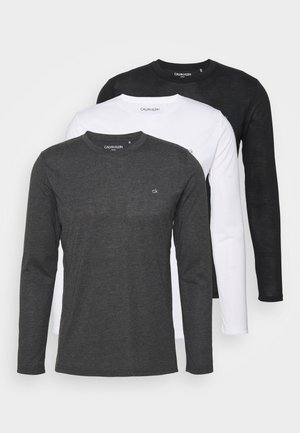LONG SLEEVE 3 PACK - Top s dlouhým rukávem - black/white/charcoal