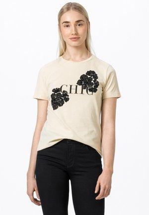 Print T-shirt - champagner