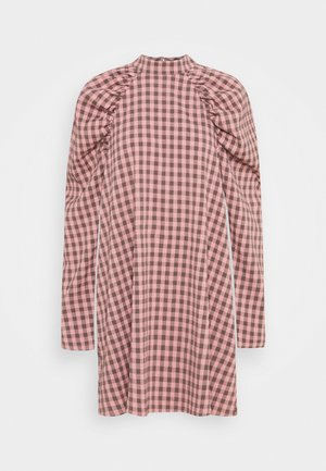 CHECK PUFF SLEEVE A LINE DRESS - Day dress - pink