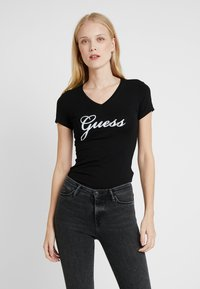 Guess - SLIM FIT - Print T-shirt - jet black - 0
