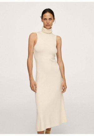 MET OMGESLAGEN COL - Stickad klänning - vanille