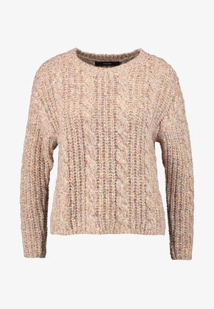 VMFRIENDLY O-NECK CABLE - Cardigan - sepia rose/comb