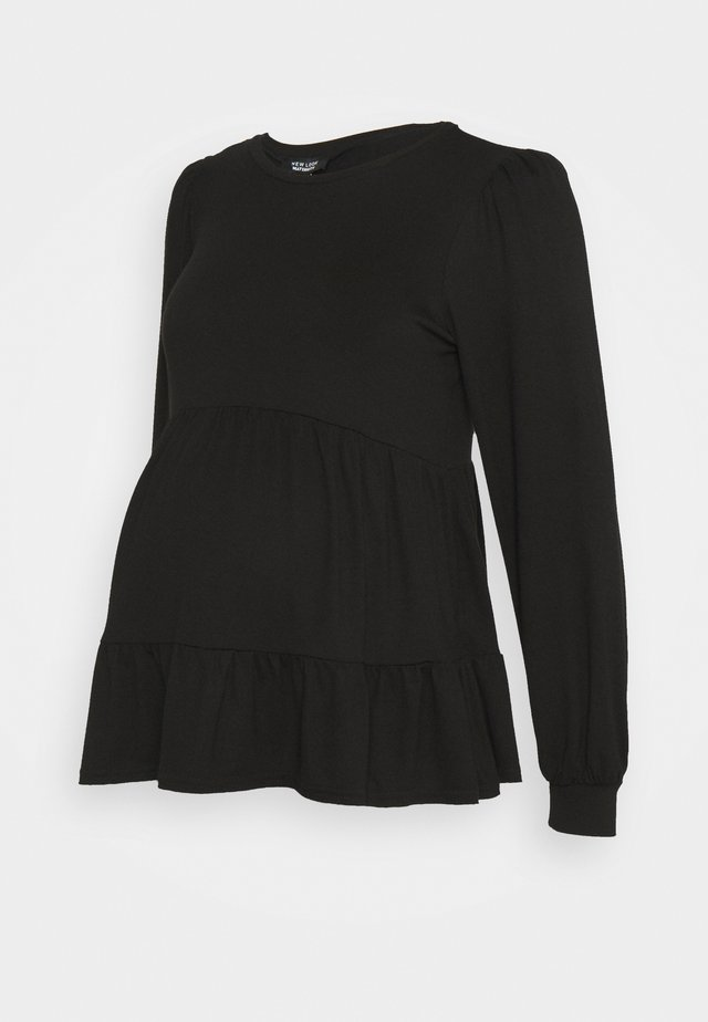 PLAIN PEPLUM - Topper langermet - black
