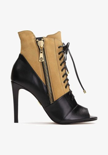 MEGAN - High heeled ankle boots - brown