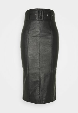 BELTED PENCIL SKIRT - Kynähame - black