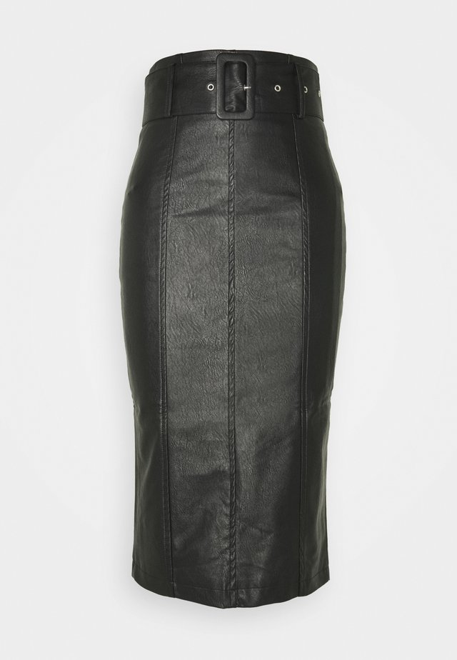 BELTED PENCIL SKIRT - Kokerrok - black