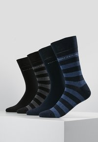TOM TAILOR - SOCKS STRIPES 4 PACK - Strumpor - blau/schwarz - 0