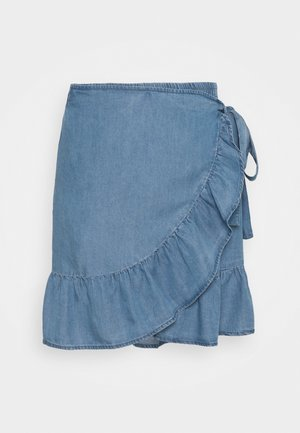 ONLSOFIA WRAP KNEE SKIRT - Wrap skirt - medium blue denim
