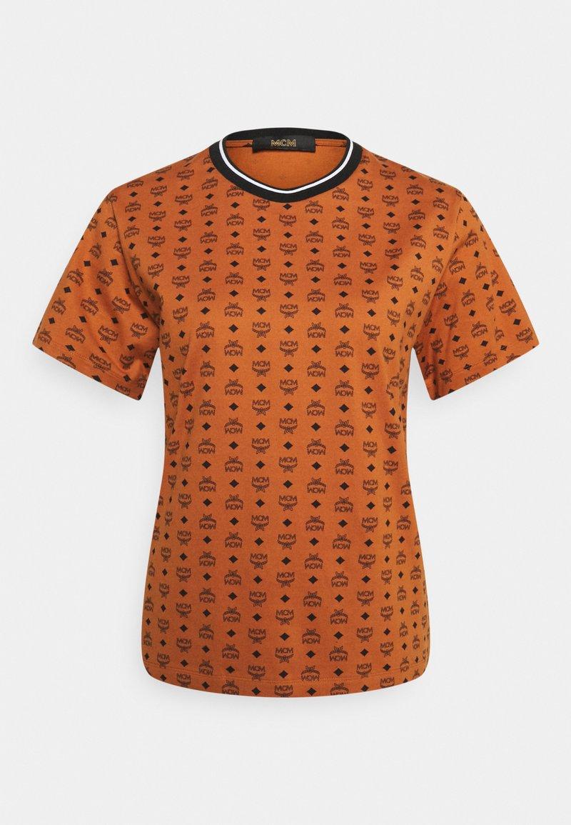MCM - WOMENS VISETOS PRINT T-SHIRT - Print T-shirt - cognac
