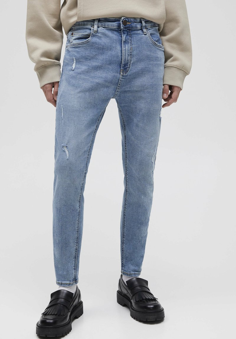 PULL&BEAR - Jeans Tapered Fit - mottled dark blue