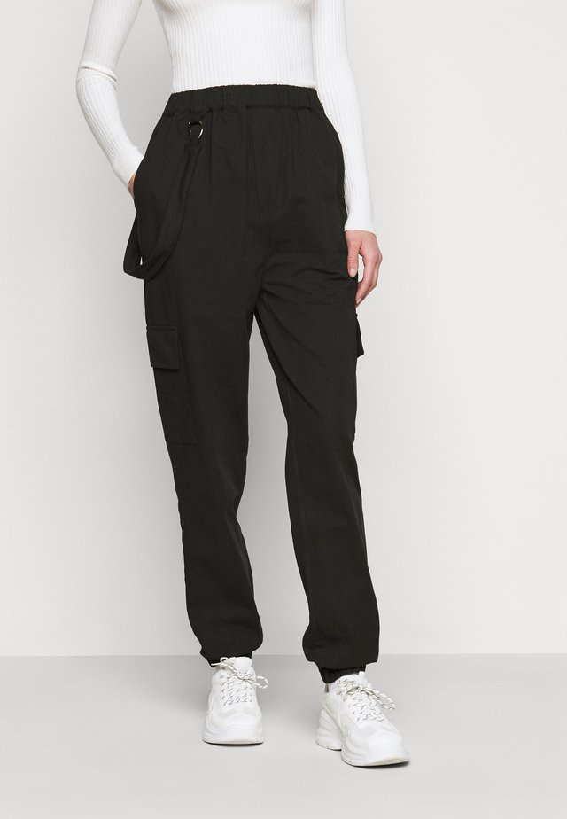 RING STRAP PANT - Bukser - black