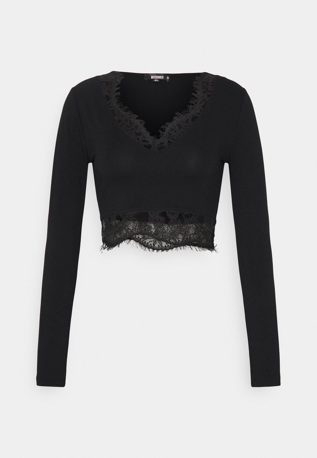 CROP - T-shirt à manches longues - black