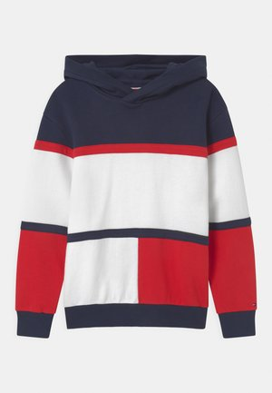 COLORBLOCK HOODIE UNISEX - Jersey con capucha - twilight navy/deep crimson