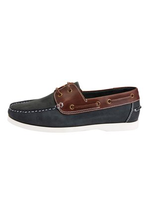 NAVY LEATHER BOAT SHOES - Chaussures bateau - blue