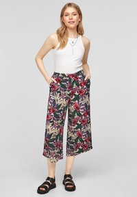 QS by s.Oliver - Trousers - beige floral aop - 1
