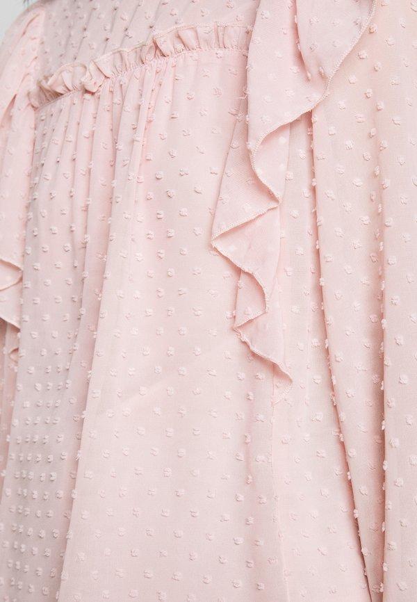 Dorothy Perkins Petite DOBBY RUFFLE - Bluzka - blush/beżowy HTKR