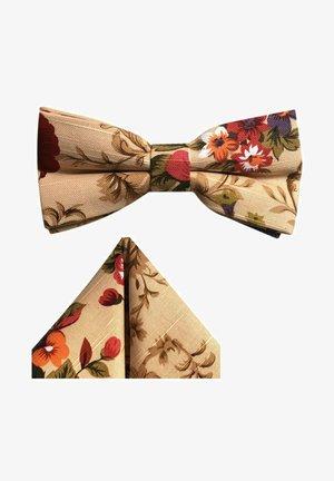 2-SET FLORA VINTAGE  FLIEGE  - Pocket square - beige  braun bordeaux-rot gruen violett blumen