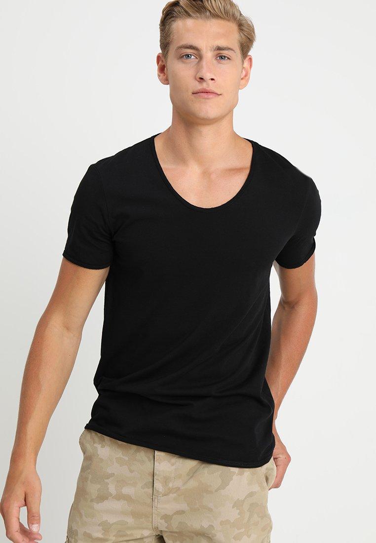 TOM TAILOR DENIM - V-NECK TEE - Basic T-shirt - black