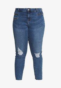 VMSEVEN SLIM ZIP ANK - Skinny džíny - medium blue denim