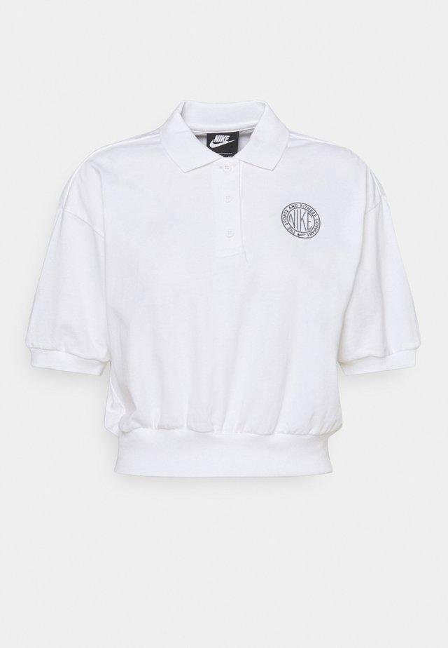 FEMME CROP - Poloshirt - white/smoke grey