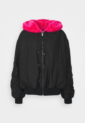 REVERSIBLE WITH HOOD - Kurtka zimowa - black/pink