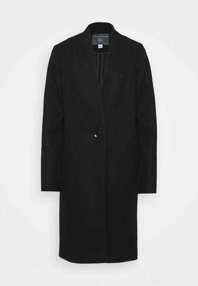COLLARLESS UNLINED COAT - Abrigo - black