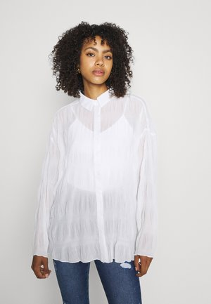 SHEER CRINKLE EXTREME OVERSIZED SHIRT - Button-down blouse - cream